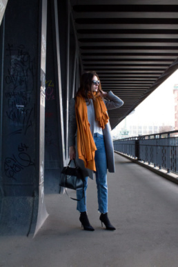 straight leg Jeans, Orange Scarf Zara Grey Coat Coccinelle b14