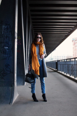 Orange Scarf Zara Grey Coat Coccinelle tote bag