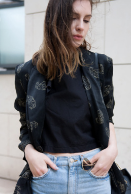 Rayban H&M Ruffle Shirt Topshop Jeans | Fancyflare.com
